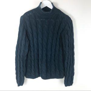 L.L. Bean Black Cable Knit Turtle Neck Sweater